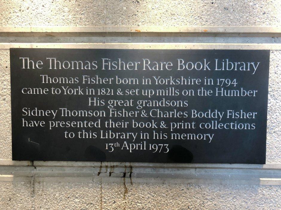 トーマスフィッシャーレアブックライブラリーの標識