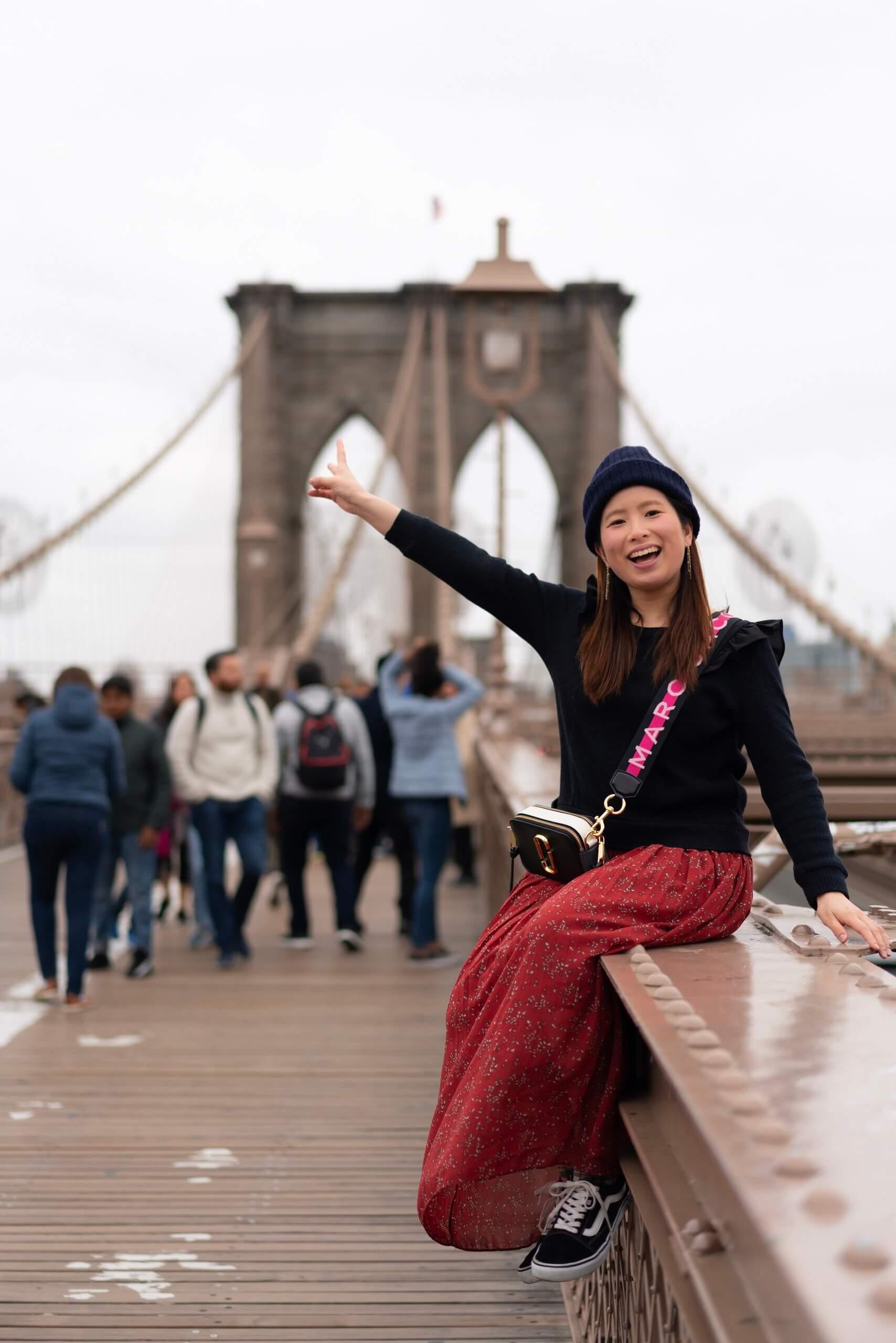 ブルックリン橋で記念撮影