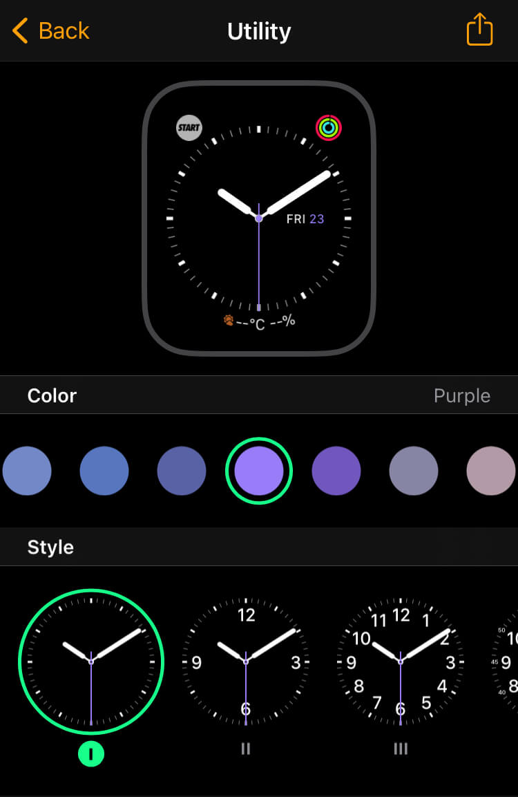 Apple Watchのユーティリティ画面